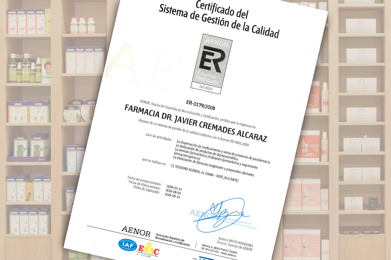 Certificado de calidad ISO 9001 de AENOR válido hasta 2018
